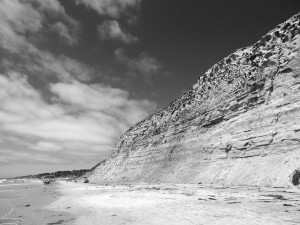 Torrey Pines State Beach, Rocks, Sky B & W