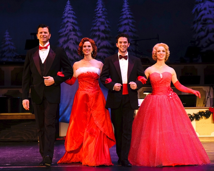 SDMT Irving Berlin's White Christmas Principal Cast:  Left to right:  Todd DuBail as Bob Wallace,   Allison Spratt Pearce as Betty Haynes,  Jeffrey Scott Parsons as Phil Davis &  Tro Shaw as Judy Haynes . Photo by Ken Jacques.