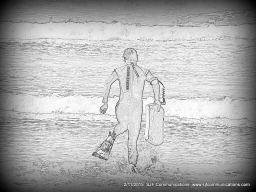 Pencil Sketch of Greg with Boogie Board; Torrey PInes State Beach; SJF Communications www.sjfcommunications.com
