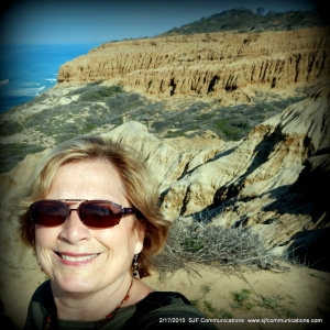Susan admiring Rock Formations at Torrey Pines State Reserve