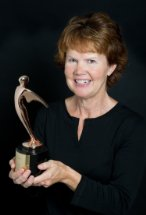 Sue Vicory with her 2014 Telly Award. Courtesy Photo Sue Vicory