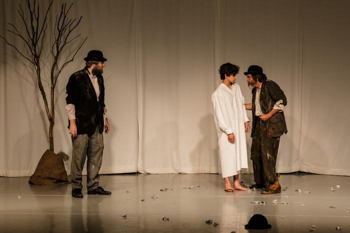 Left to right: Tom Steward (Vladimir/Didi), Jordi Bertran (A boy) and Joe Powers (Estragon/Gogo); Photo by Jim Carmody