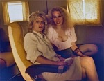 "Nancy Locke Capers with Karen Black on set of ""Hostage"""
